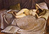 Gustave Caillebotte Canvas Paintings - Naked Woman Lying on a Couch