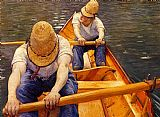 Gustave Caillebotte Canvas Paintings - Oarsmen