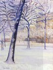 Gustave Caillebotte Park in the Snow, Paris painting