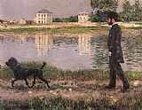 Famous Dog Paintings - Richard Gallo and His Dog at Petit Gennevilliers