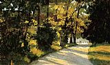 Famous Path Paintings - Yerres, Path Through the Woods in the Park