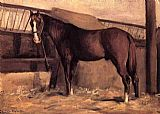 Gustave Caillebotte Yerres, Reddish Bay Horse in the Stable painting