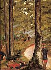 Gustave Caillebotte Yerres, Soldiers in the Woods painting