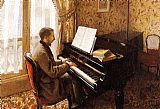 Famous Playing Paintings - Young Man Playing the Piano