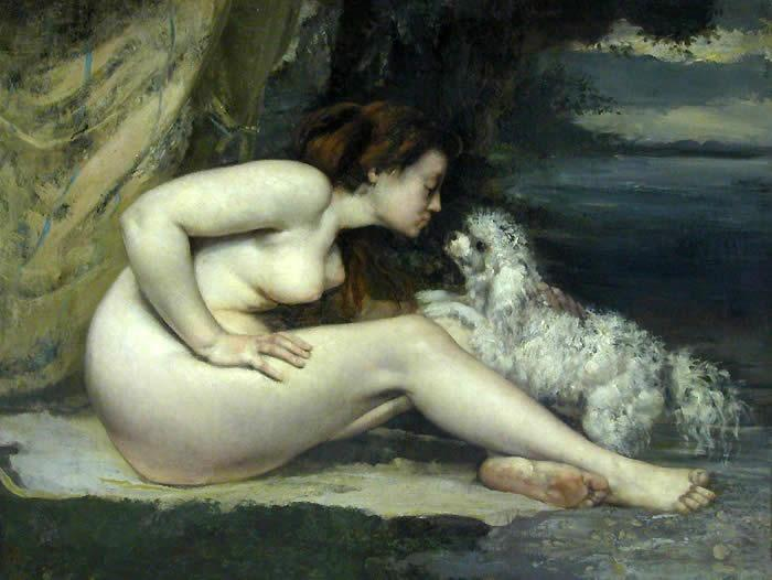 Gustave Courbet - Page 2 Nude%20woman%20with%20a%20dog