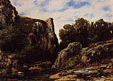 Gustave Courbet A Waterfall in the Jura painting