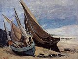 Gustave Courbet Fishing Boats on the Deauville Beach painting