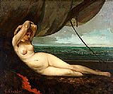 Nude Canvas Paintings - Nude reclining by the sea