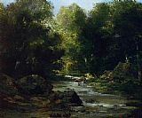 Gustave Courbet River Landscape painting