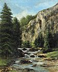 Gustave Courbet Study for Landscape with Waterfall painting