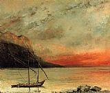 Gustave Courbet Sunset on Lake Leman painting