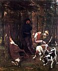 Gustave Courbet The booty hunting with dogs painting