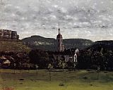 Church Canvas Paintings - View of Ornans and Its Church Steeple