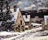 Gustave Courbet Wall Art - Village at winter