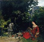 Gustave Courbet Wall Art - Woman with Garland