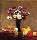 Table Canvas Paintings - Asters and Fruit on a Table