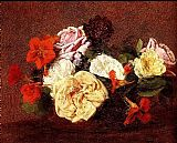 Bouquet Canvas Paintings - Bouquet Of Roses And Nasturtiums
