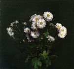 sant Canvas Paintings - Bouquet of White Chrysanthemums
