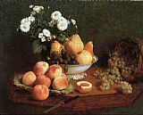 Table Canvas Paintings - Flowers & Fruit on a Table 1865