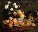 Table Canvas Paintings - Flowers and Fruit on a Table