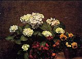 Henri Fantin-Latour Hydrangias Cloves and Two Pots of Pansies painting