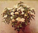 Rose Canvas Paintings - Rose Trees White Roses