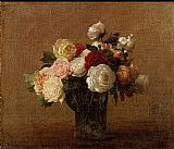 Vase Canvas Paintings - Roses in a Glass Vase
