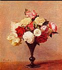Vase Canvas Paintings - Roses in a Vase I