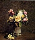 Vase Canvas Paintings - Roses in a White Porcelin Vase