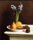 Fruit Canvas Paintings - Still Life Hyacinths and Fruit