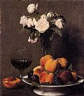 Fruit Canvas Paintings - Still Life with Roses Fruit and a Glass of Wine