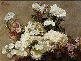 sant Canvas Paintings - White Phlox Summer Chrysanthemum and Larkspur