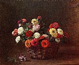 Basket Canvas Paintings - Zinnias in basket