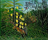 Henri Rousseau The Jungle - Tiger Attacking a Buffalo painting