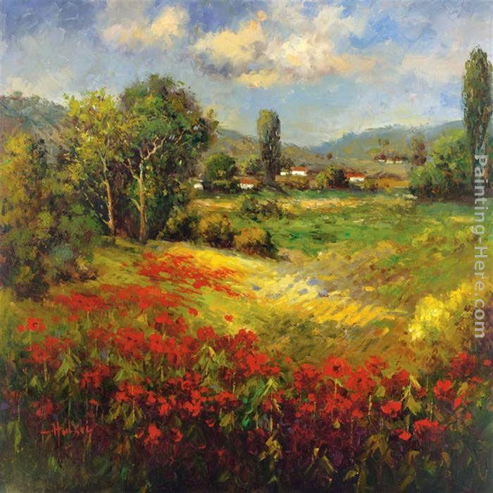 Super Large Single Picture Landscape Vineyard Canvas: Hulsey Country Village I Painting