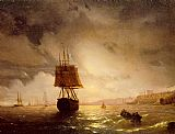 Black Canvas Paintings - The Harbor at Odessa on the Black Sea