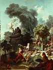 Jean-Honore Fragonard L'amant couronnee painting