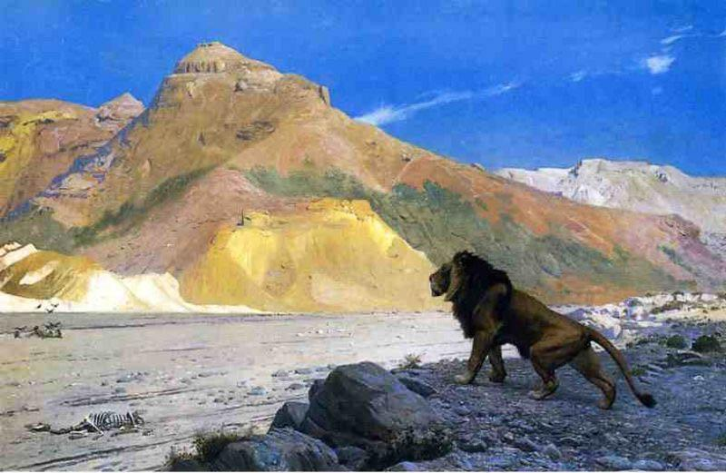 Jean-Leon Gerome Lion on a Cliff