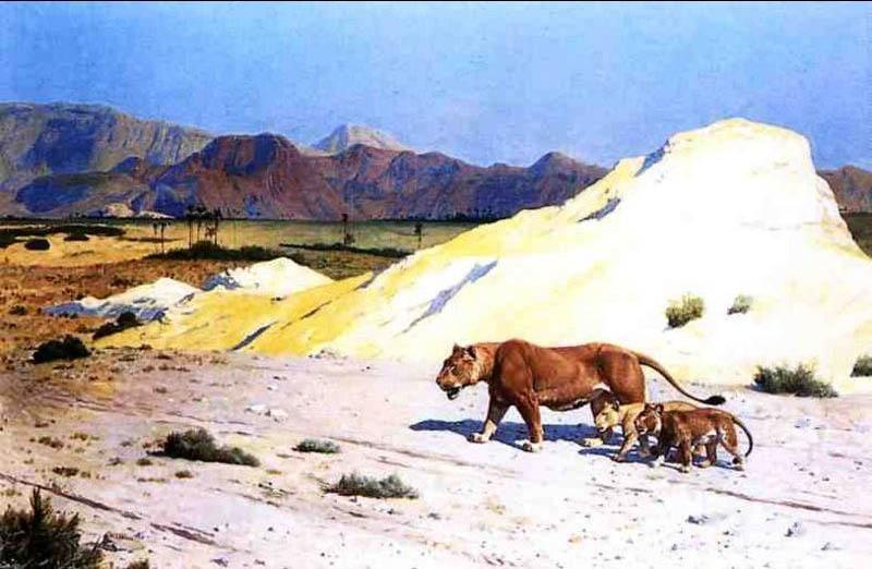 Jean-Leon Gerome Lioness and Her Cubs