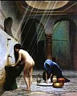 Bath Canvas Paintings - A Moorish Bath Turkish Woman Bathing No 2