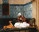 Jean-Leon Gerome Arnaut blowing Smoke at the Nose of his Dog painting