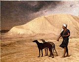 Jean-Leon Gerome Team of Dogs in the Desert painting
