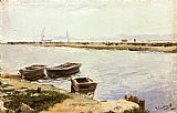 Boats Canvas Paintings - Three Boats By A Shore
