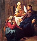 Mary Canvas Paintings - Christ in the House of Mary and Martha