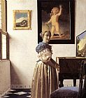 Johannes Vermeer Lady Standing at a Virginal painting