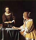 Famous Lady Paintings - Lady with Her Maidservant Holding a Letter