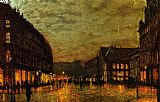 John Atkinson Grimshaw Famous Paintings - Boars Lane Leeds by Lamplight