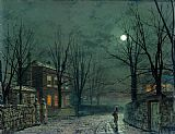 John Atkinson Grimshaw Famous Paintings - The Old Hall Under Moonlight