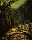 John Atkinson Grimshaw Famous Paintings - Tree Shadows on the Park Wall Roundhay Park Leeds