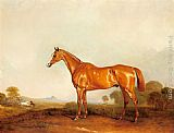 John Ferneley Snr - A Golden Chestnut Hunter in a Landscape
